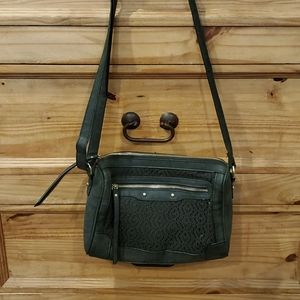 Lace and Leather Crossbody Bag